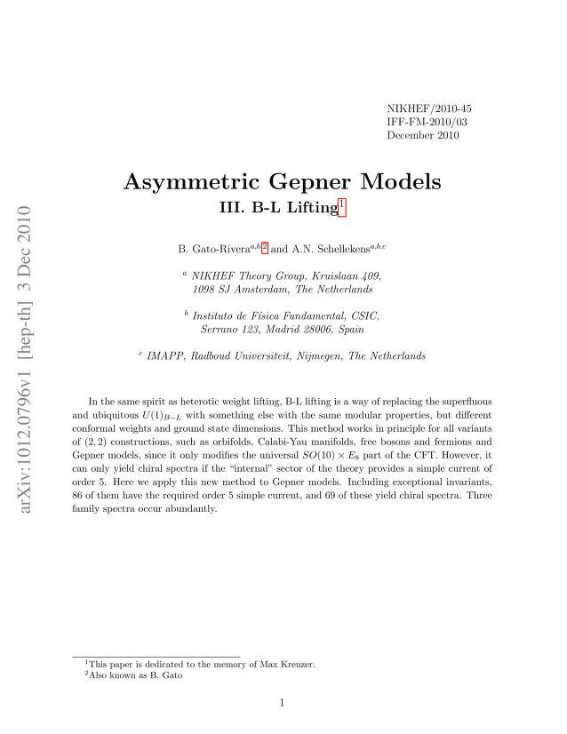 B. Gato-Rivera - Asymmetric Gepner Models III. B-L Lifting