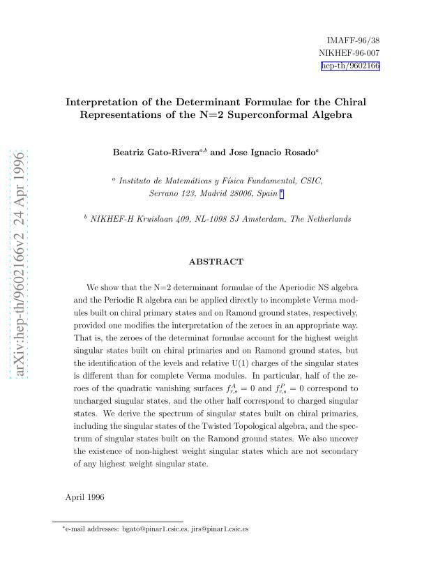 Beatriz Gato-Rivera - Interpretation of the Determinant Formulae for the Chiral Representations of the N=2 Superconformal Algebra