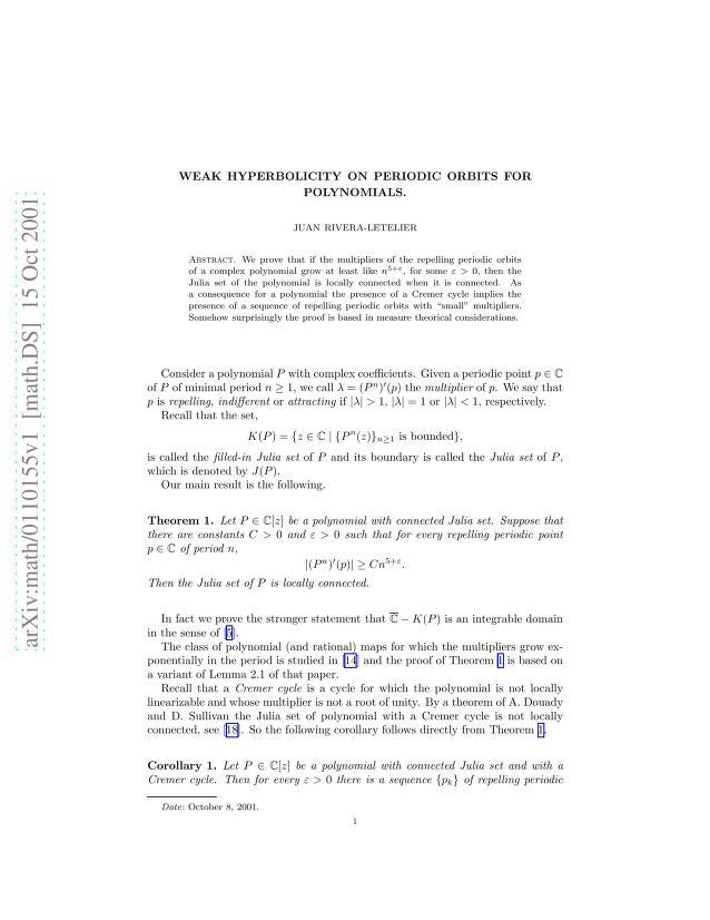 Juan E. Rivera-Letelier - Weak Hyperbolicity on Periodic Orbits for Polynomials