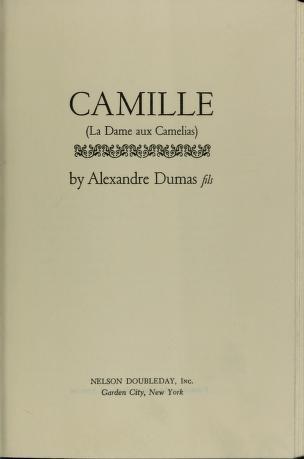 Cover of: Camille   Alexandre Dumas (fils)