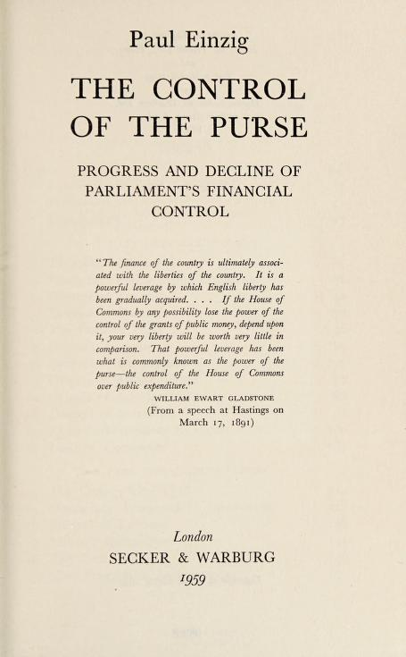 The control of the purse by Einzig, Paul