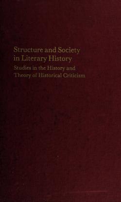 Cover of: Structure and society in literary history   Robert Weimann