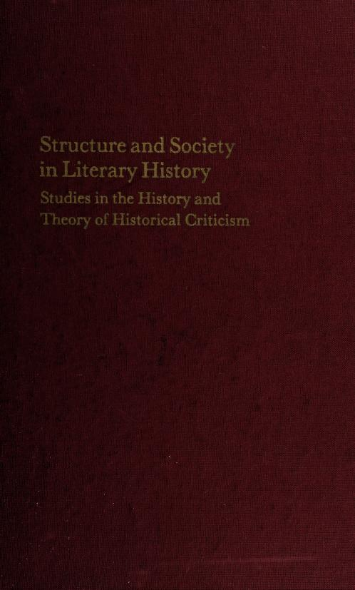 Structure and society in literary history by Robert Weimann